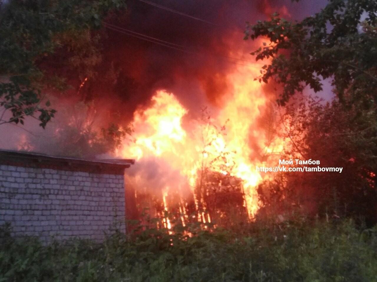 На западе Тамбова загорелись надворные постройки площадью 900 кв.м. ВИДЕО, фото-1