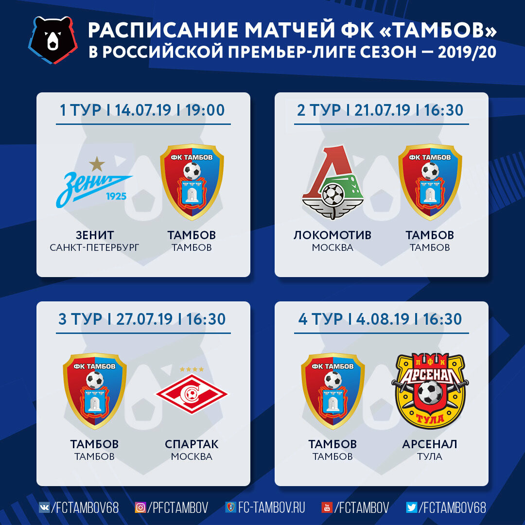 Стали известны даты игр ФК «Тамбов» в первых восьми турах, фото-1