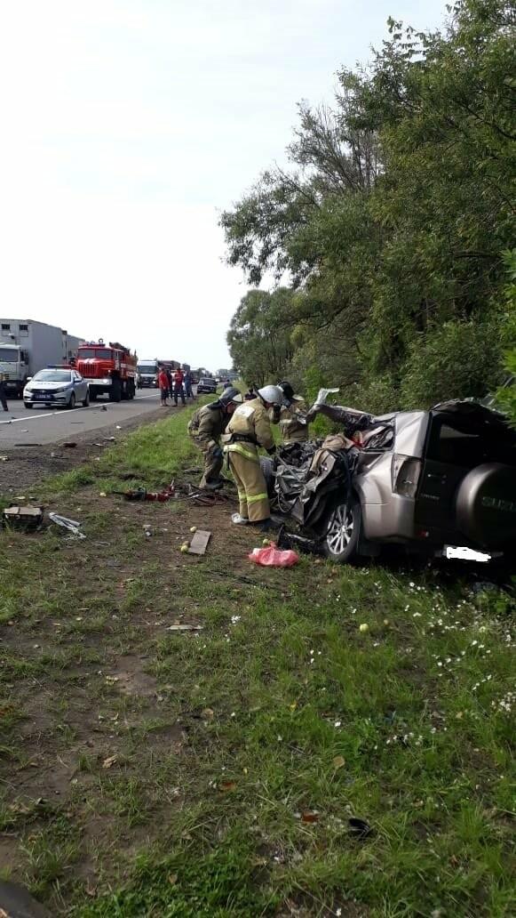 На федеральной дороге в Тамбовской области в столкновении зерновоза и двух «легковушек» погиб человек: видео, фото-8