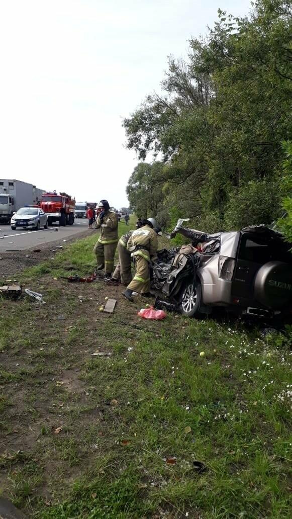 На федеральной дороге в Тамбовской области в столкновении зерновоза и двух «легковушек» погиб человек: видео, фото-10