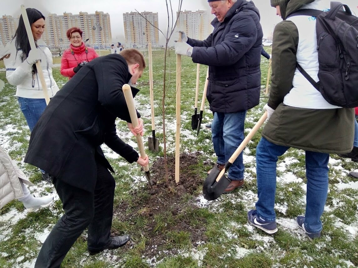 Глава Тамбова вместе со студентами посадила 200 саженцев в Олимпийском парке, фото-1