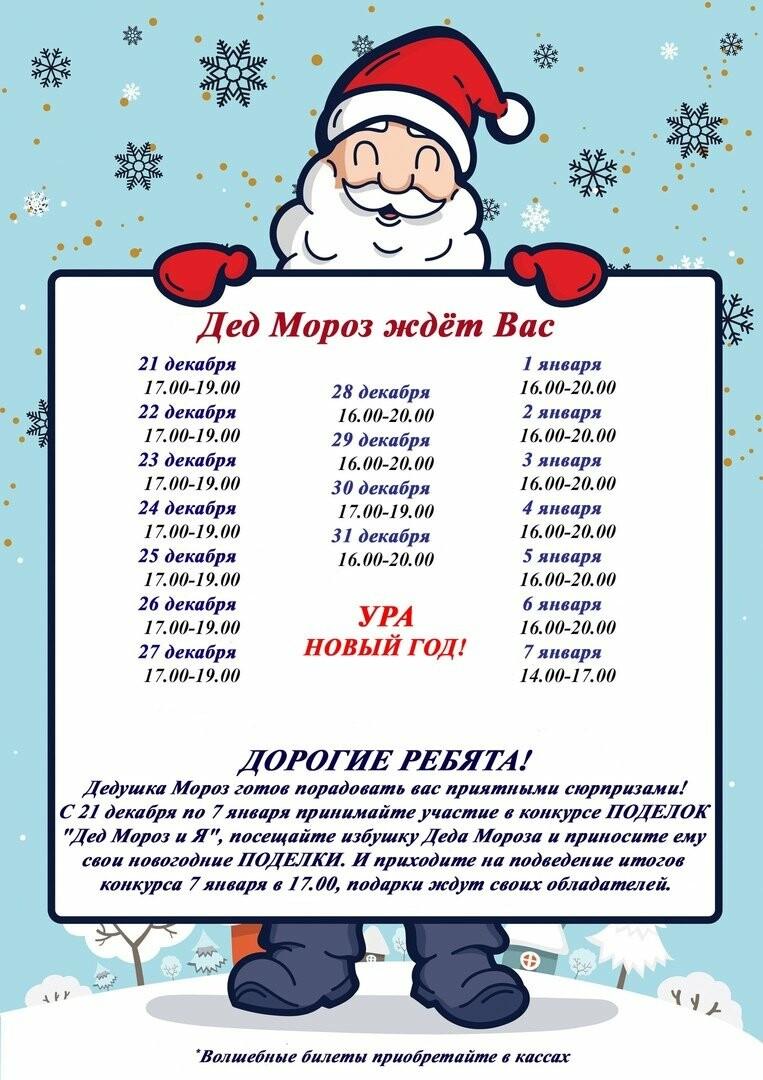 Подробное расписание работы резиденции Деда Мороза в Тамбове, фото-1