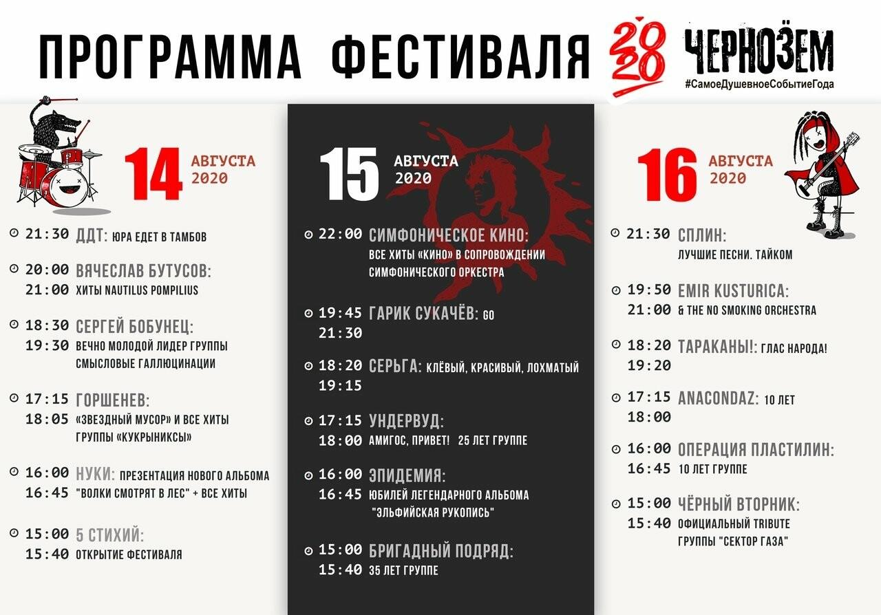 ДДТ, Сплин и Симфоническое КИНО – хэдлайнеры «Чернозема-2020», фото-1