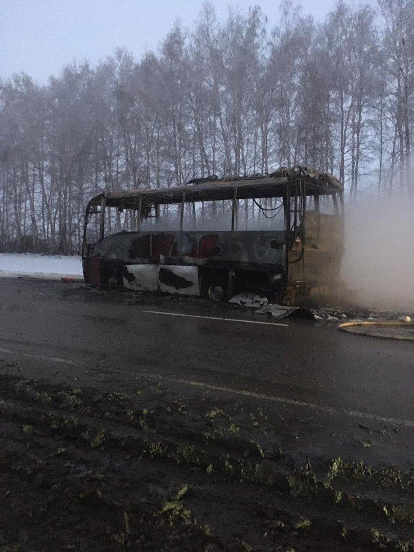 В Тамбовской области на трассе сгорел пассажирский автобус, фото-1