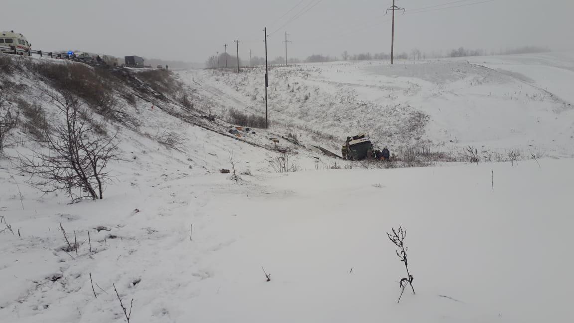 В Тамбовской области на федеральной трассе Р-22 перевернулся рейсовый автобус: двое погибли, еще 18 пострадали, фото-7