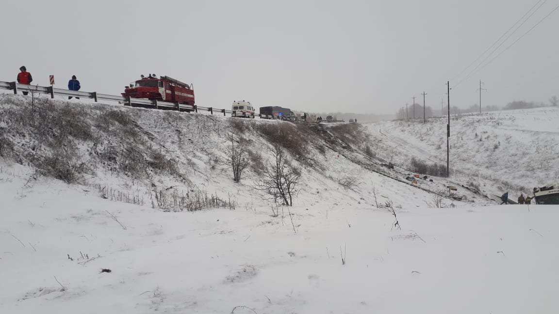 В Тамбовской области на федеральной трассе Р-22 перевернулся рейсовый автобус: двое погибли, еще 18 пострадали, фото-5
