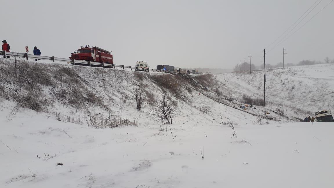 В Тамбовской области на федеральной трассе Р-22 перевернулся рейсовый автобус: двое погибли, еще 18 пострадали, фото-6