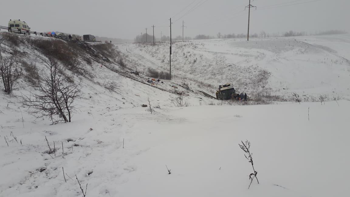 В Тамбовской области на федеральной трассе Р-22 перевернулся рейсовый автобус: двое погибли, еще 18 пострадали, фото-4